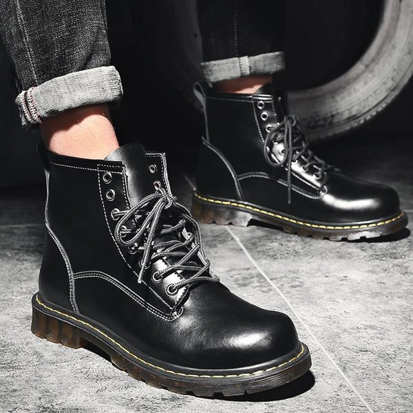 Genuine Leather Boots Men Snow Boots Winter Waterproof Ankle Boots Men Outdoor Work Safety Shoes Men Sneakers