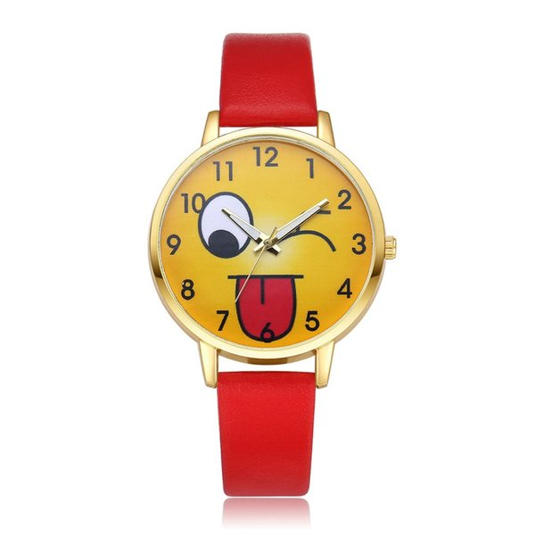 GENBOLI Children Kids Quartz Watches Smiling Face PU Leather Strap Analog Quartz Wrist-Watch Fashionable Popular Birthday Gift