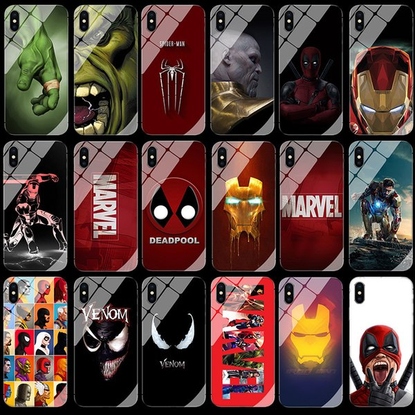 Luxury Batman Marvel Comics Patterned Tempered Glass Phone Case For iPhone XS MAX XR 8 7 6 6s Plus XS Phone Cover Capa