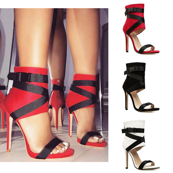 New style white red black open toe sandals cross tied sexy summer high heels lady prom dress shoes large size 35-43
