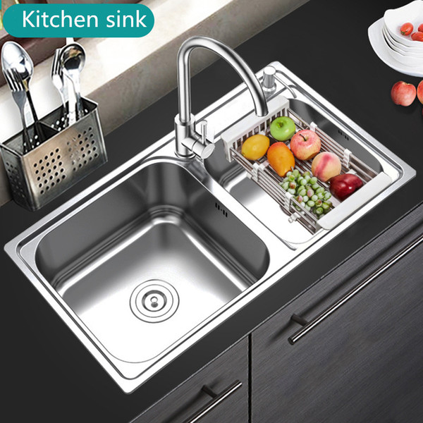 best selling 304 Stainless Steel Kitchen Double Sink Thickness Silver Sinks with Faucet Strainer Stainless Steel Undermount or Above Counter