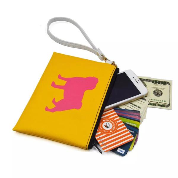 Dog Handbag Hot sale Animal Print PU Leather Cosmetic Bag Women Clutch Zip Pouch with Wristlet