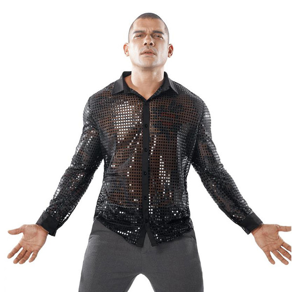 men shiny sequin shirt transparent see through chemise homme nightclub stage prom dance shirt male camisa social 2019 new
