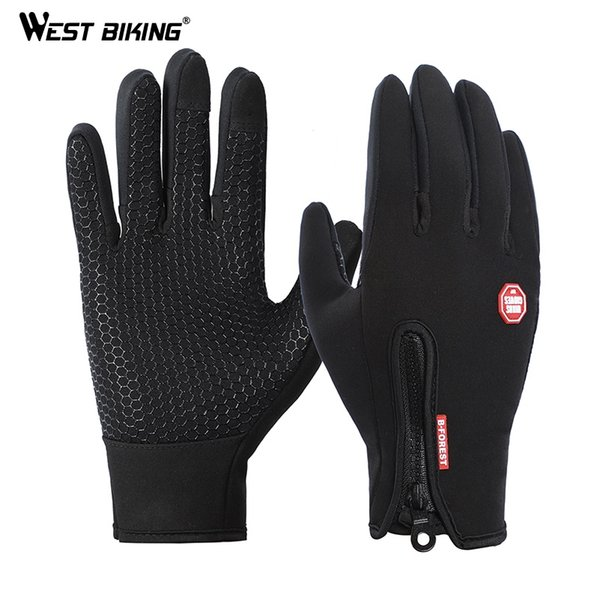 WEST BIKING Outdoor Sports Guanti da ciclismo antivento invernale guanti da guida full finger in sella a caldo GEL pesca ciclismo # 283742