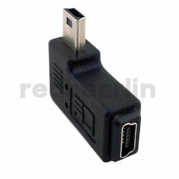 Adaptador Mini USB macho a hembra de 90 grados Ángulo izquierdo y derecho Mini USB Adaptador extendido de 5 pines