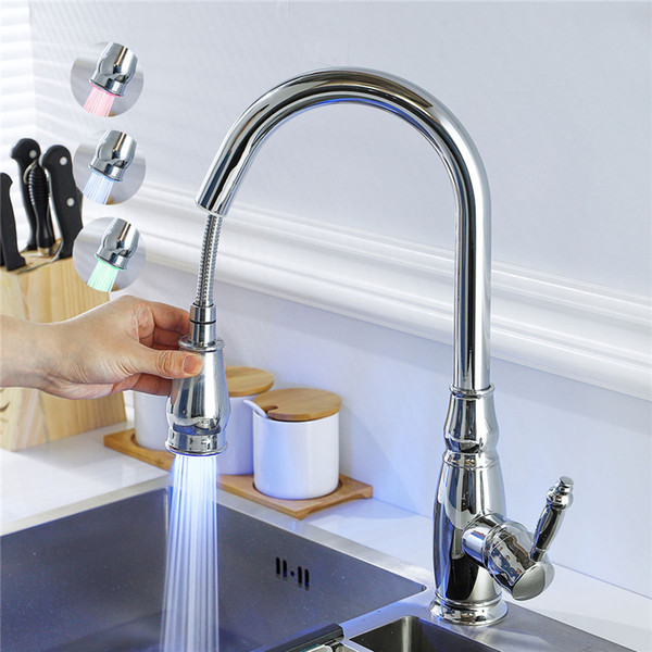 2019 LED Pull Out Kitchen Faucet Nickel Kitchen Sink Mixer Tap 360 Degree  Rotation Sink Mixer Taps Kitchen Tap Brass Faucet From Pet_friends, $112.67  ...