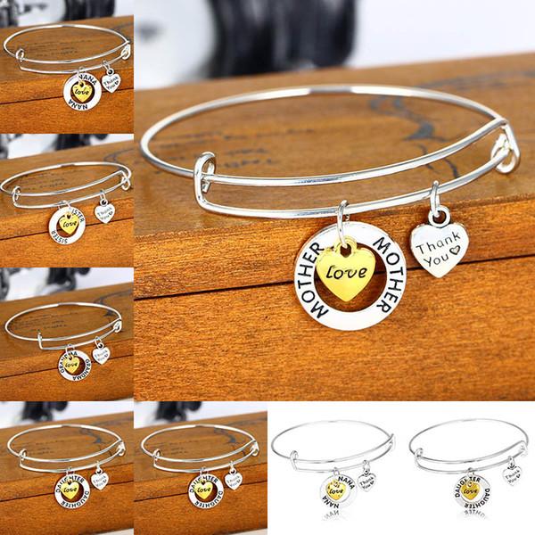 Ajustável pulseiras família filha, avó, mãe, irmã, NANA Obrigado coração Charm Bracelet pulseira