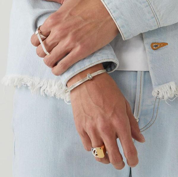 Bracciale in argento sterling AMBUSH 925, semplice e facile da tirare, bracciale di alta qualità per uomo e donna