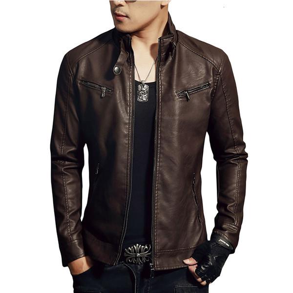 Lnreal Vestes en cuir synthétique pour homme Slim solide pied de col Manteau Fermeture éclair Mode SH190827