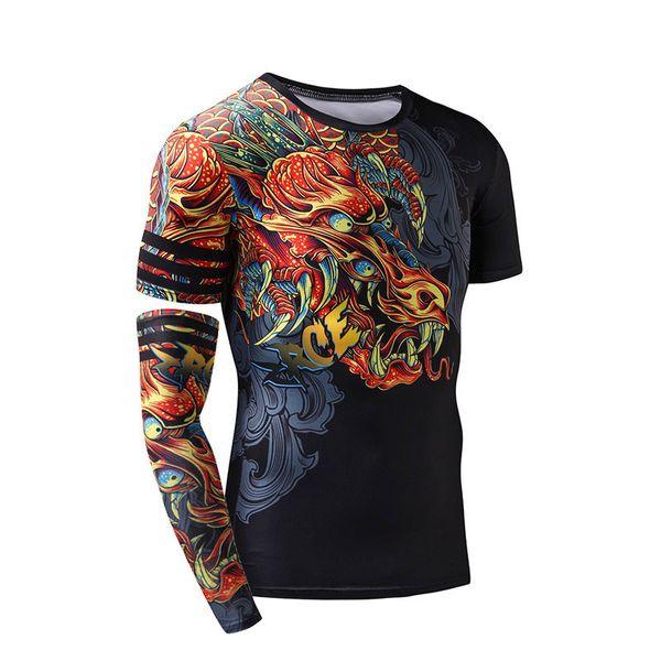Zrce Men Compression Shirt 3d Dragon Gym Clothing Quick Dry Fitness Men Swim Fitness Top Mens Rashgard Man Sport Running Shirt J190413