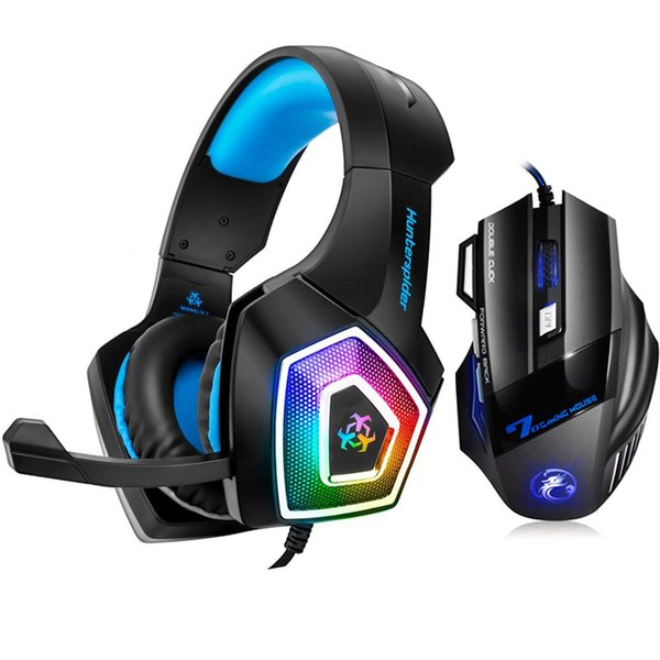 Hunterspider V1 Gaming Headset Over Ear Stereo Heaphone With Mic LED Light for Xbox One PS4 PC+7 Buttons 5500 DPI Gaming