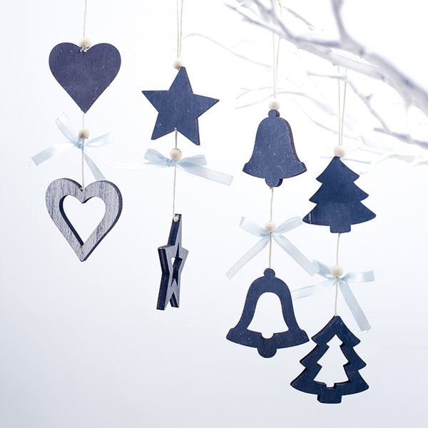 DIY blue Bow bead heart bell Wooden Pendants Ornaments For Christmas Party Xmas Tree hanging Ornaments Kids Gifts Decorations