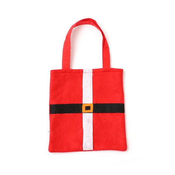 Christmas Bag Christmas Party Decorations Santa Claus Bags 21*21cm Non-woven Xmas Candy Gift Handbags for Kids Children DH0212