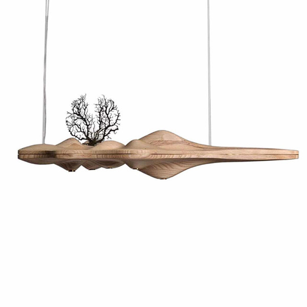 JESS Modern Solid Wood Pendant Light Chinese Japanese Nordic Creative Retro Branch Lamp for Dining Kitchen Island wooden lamp