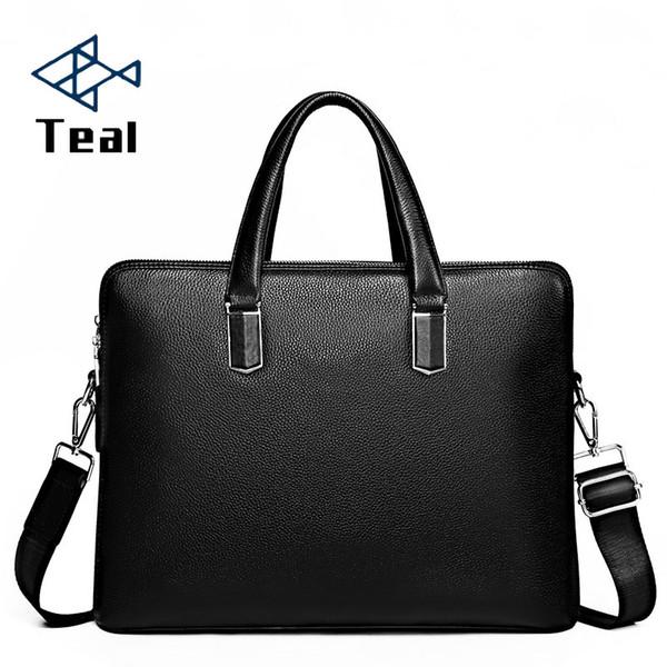 Homens Couro Pastas Bolsas zipper Negócios Shoulder Bandoleira Genuine Laptop sacos bolsa de mensageiro para Mens Viagem Masculino Bag