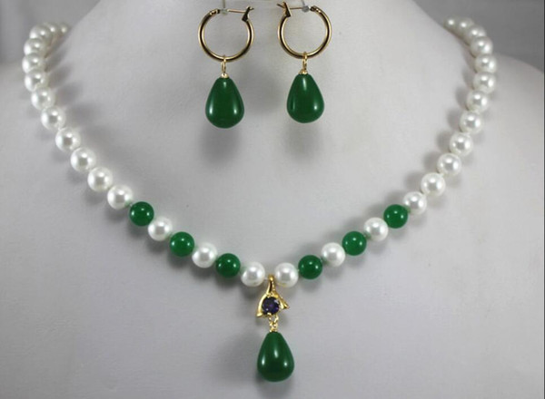 jewelry party jewelry sets charm 8mm white shell pearl dotted with green jade beads necklace match green jade earring