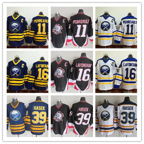 Buffalo Sabres Hockey Jerseys 16 Pat LaFontaine 11 Gilbert Perreault 39 Dominic Hasek 1992 CCM Vintage Stitched Jersey good qulity