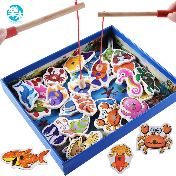 best selling Logwood Baby 32pcs Magnetic Educational Fishing Funny Garden Game Wooden Toys Child Birthday Christmas Gifts Q190530