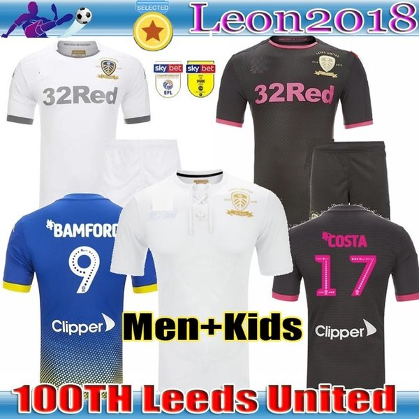 top popular Men kids 19 20 Leeds United Centenary soccer Jersey 2019 2020 HARRISON home COSTA 100th anniversary kit FOOTBALL shirts uniform 2019