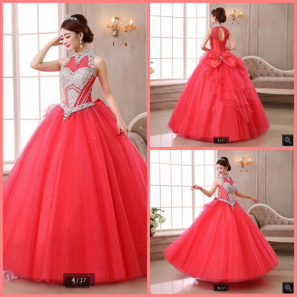 Vestido De Festa luxury ball gown pink high neckline prom dress hollow back sexy beaded crystals with bow corset sweet 16 prom gowns