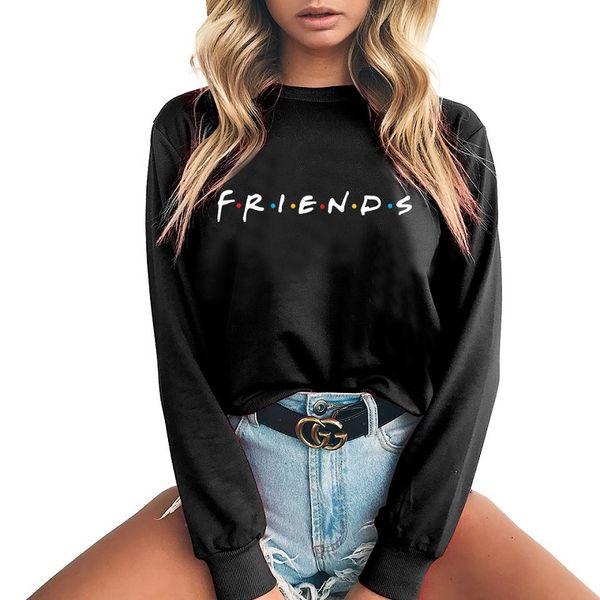 2018 Winter Women Friends letra tendencia jersey suéter de manga larga Casual Harajuku Style femenino Pullover Plus size