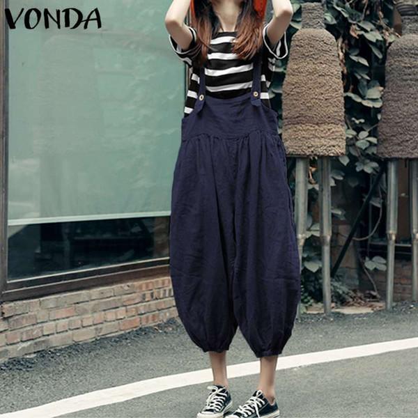 VONDA 2018 Summer Rompers Womens Jumpsuit Fashion Vintage Long Playsuits Casual Loose Overalls Pants Plus Size S-5XL