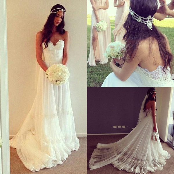 Vintage Beach Wedding Dress Cheap Dropped Waist Lace Appliques Bohemian Strapless Backless Boho Bridal Gowns With Chapel Train