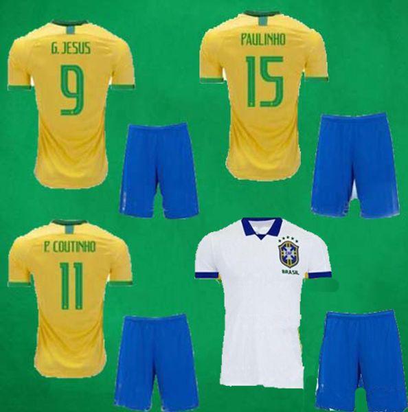 Großhandel 19 20 Brasilien Fußball Jersey Shorts Heim Auswärts Fußball Sets G.JESUS COUTINHO MARCELO WILLAN PAULINHO Fußball Trikots Hosen Sport