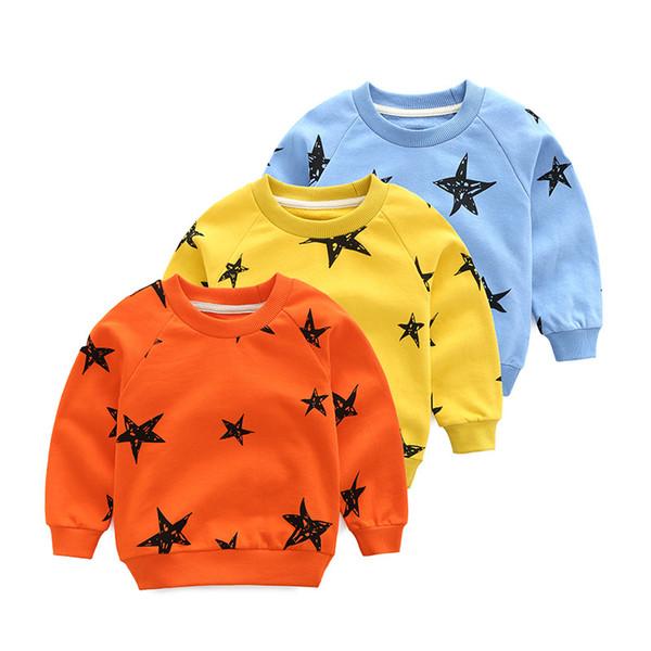 Moda Ragazzi maglione caldo stelle stampato bambino ragazze ragazzi camicia bambini manica lunga Top cotone 2019 inverno nuovi vestiti