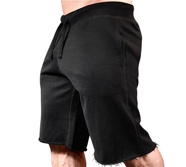 Summer Frayed Cutoff Mens Shorts Fitness Running Shorts Pure Color Sports Knee Length Pants Causal Male Clothes
