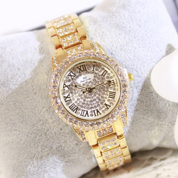 Новая горячая продажа список часов полный Римский цифровой масштаб горный хрусталь бренд женские часы мода повседневная браслет Застежка хронограф
