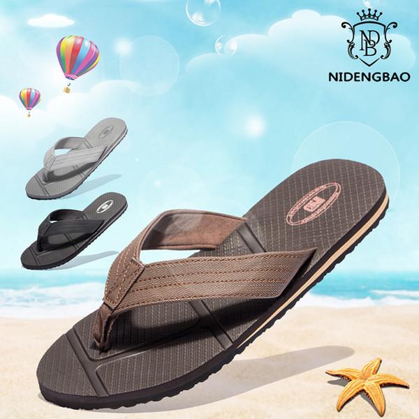 NIDENGBAO Flip Flops Men Summer Beach Sandals Big Size 40-48 Black Man Shoes Non-slip Slippers zapatos de hombre chaussure