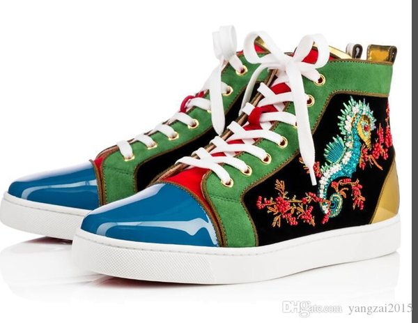 CL Luxury Luxury Designs Обувь Spike младший теленок Low Cut Mix 20 Красные Нижние Кроссовки Роскошные Свадебные Туфли Из Натуральной Кожи 04