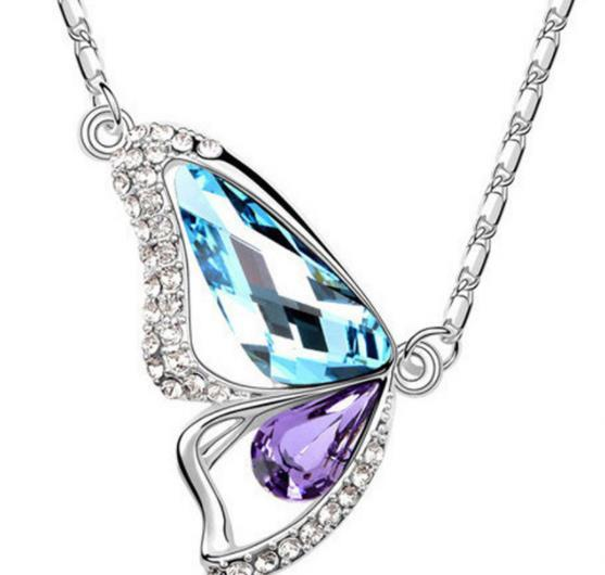 Butterfly Wings Crystal Pendant Necklaces Fashion Jewelry