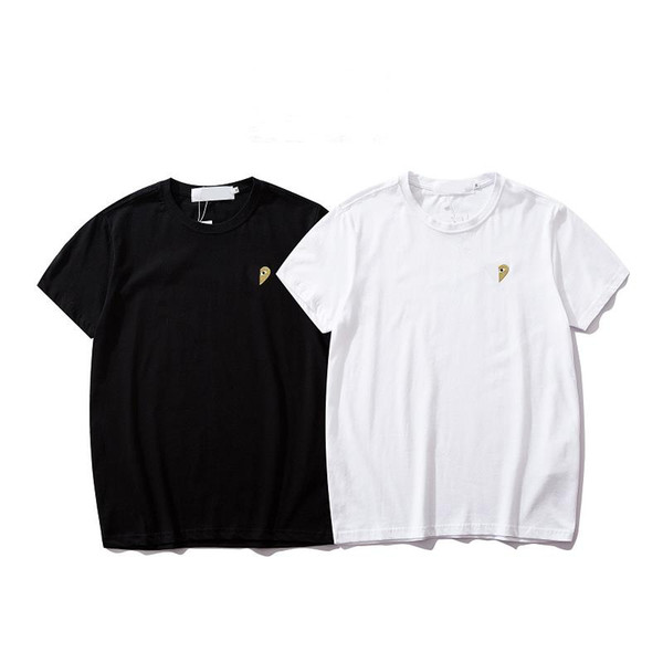 Moda Tees Erkekler gömlek Hip Hop Pamuk Mens Kırmızı kalpGiyim T-shirt 19SS Yuvarlak Adam Tops Yaz Kısa Kollu siyah Beyaz gömlek tee