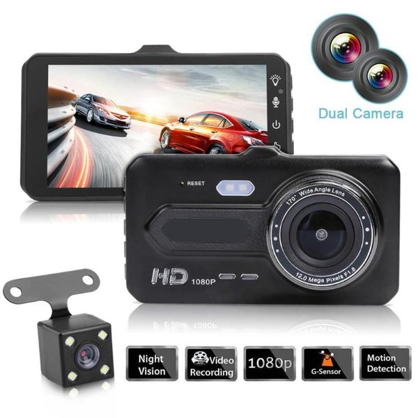 "2Ch car DVR 4"" touch screen video recorder driving digital camera front 170° rear 120° night vision G-sensor loop recording motion detection"
