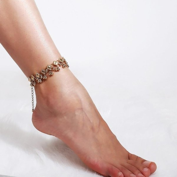 2020 Fashion Punk Gold Silver Ball Bead Anklet for Women Bracelet on The Leg Foot Jewelry Vintage Beach Chunky Chain Ankle Gift