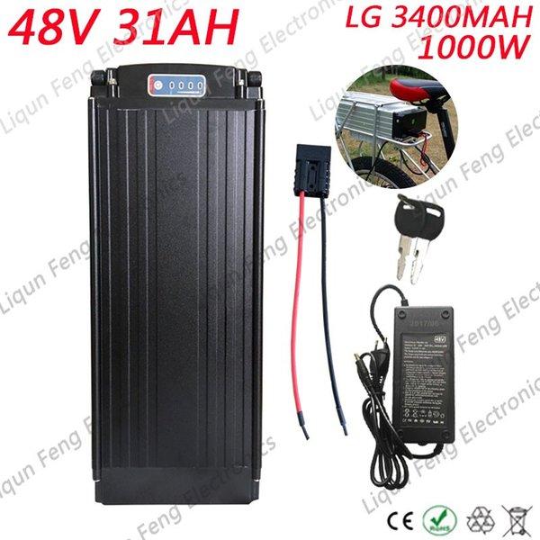 Livraison Gratuite Haute Puissance 1000W 48V Vélo Électrique Batterie Li-ion 48V 31AH Batterie Au Lithium avec Feu Arrière Utiliser LG 3400MAH Cell