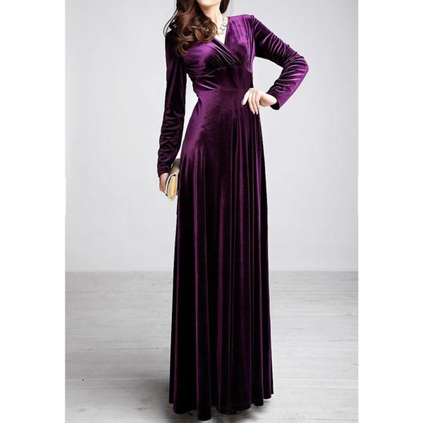 Kleid Frauen Winter Langarm V-Ausschnitt Lange Maxi Samt Kleider Elegante Damen Formale Party Rote Kleider Schwarze Designerkleidung
