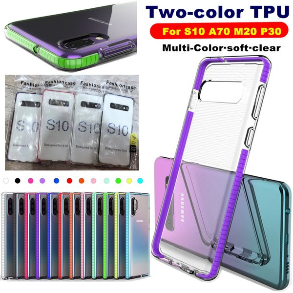 best selling Soft Clear TPU Case For Iphone 6.1 2019 5.8 6.5 2019 Samsung Note 10 Plus S10 S10E S10 Plus A70 A20E J4 Silica gel 1.4MM Colorful TPU Cover