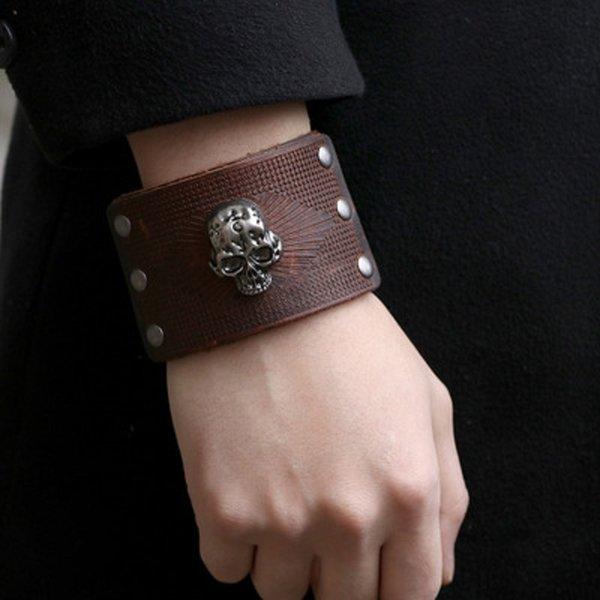 Punk Skull Bracelet En Cuir Bracelet Hommes Bracelets Bijoux Cadeau Ornements Main Exagérée DHL GRATUIT
