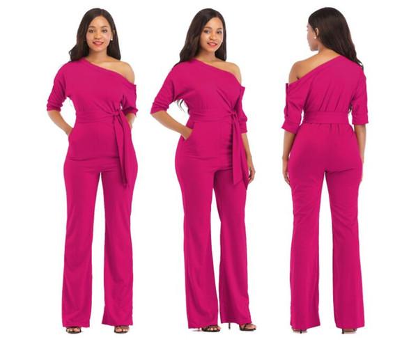 2019 Best selling classic solid color oblique collar button ladies one-piece dress wide-leg pants multi-color optional size complete