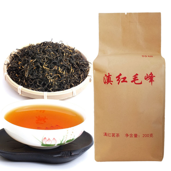 top popular 200g Dian Hong maofeng Tea Large Congou dianhong Black Tea Premium red Tea Chinese Mao feng dian Hong Famous yunnan Green Food 2020