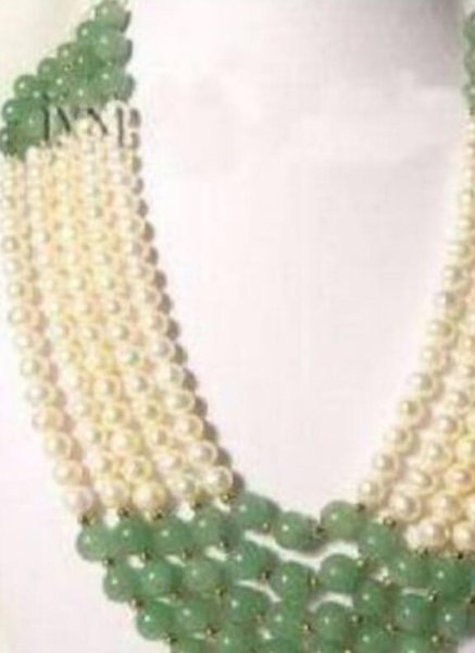 Collana all'ingrosso SHIPPING5Rows 7-8MM White Pearl AND Jade Necklace