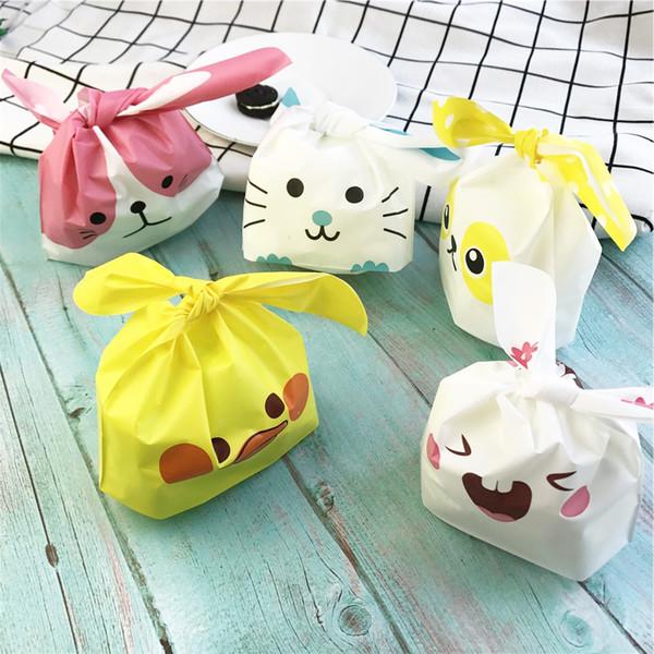 10 teile / los Nette Kaninchen Ohr Cookie Taschen Geschenk Taschen Für Süßigkeiten Kekse Snack Backpaket Hochzeit Gefälligkeiten Geschenke Ostern dekoration