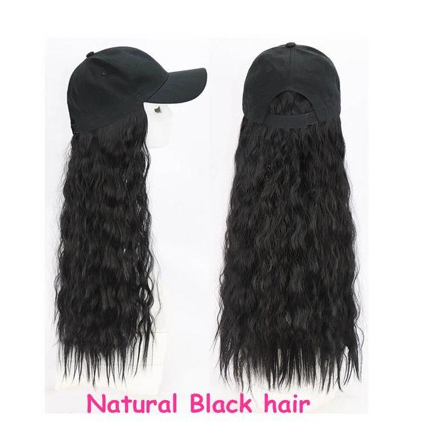 sombrero Basebacll pelo rizado negro natural