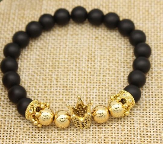 8mm cuivre or argent dy435 Couronne balle micro pavé cz zircon corde bracelet zircone cubique fil élastique ajusté agate givré