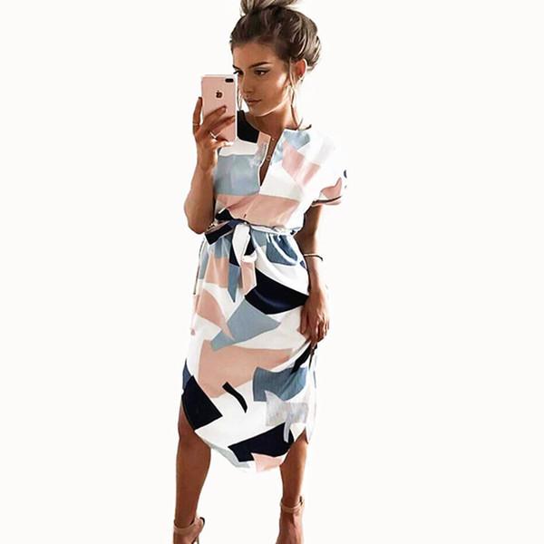 2018 Summer Dress Woman Fashion Print Lady Beach Short V-neck Maxi Geometric Print Beach Dresses Women Sashes Knee-length Dress Y19012201