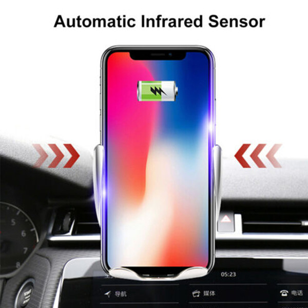 top popular Infrared Induction Automatic Sensor Magnetic Mobile Phone Fast Wireless Charger Portable 10W Qi Wireless Car Charger 2021