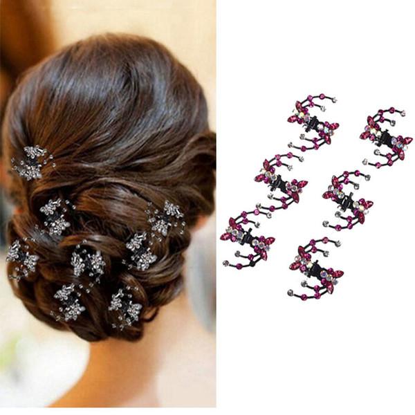 6 pcs Mulheres Rhinestone Crab Garra de Cabelo Clipe Meninas Crianças Borboleta Mini Grampos de cabelo de Cristal Glitter Acessórios Para o Cabelo Braçadeira de Cabelo de Casamento